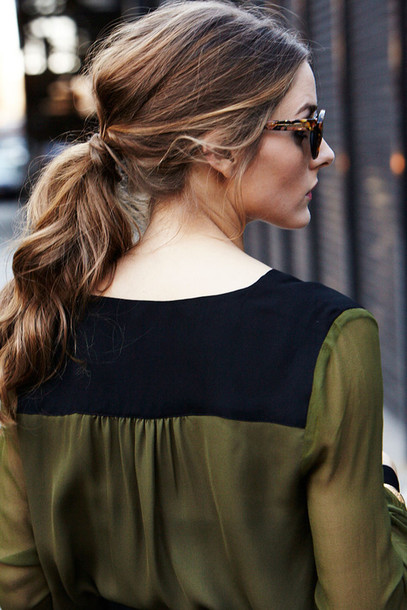 blouse green olivia palermo ponytail olive green