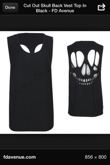 tank top black vest skull cutout