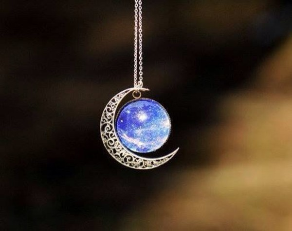 jewels moon galaxy print necklace blue pretty silver dream earth sun night