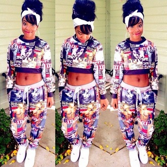 cropped sweater tupac joggers urban jumpsuit leggings blouse nike air force 1 bandana dope bag shirt