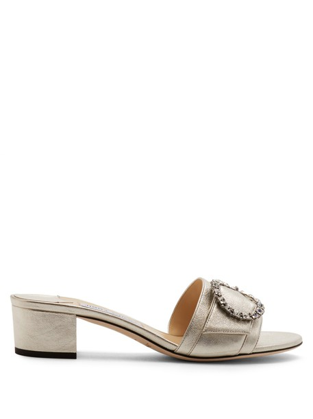 Jimmy Choo embellished mules leather silver shoes