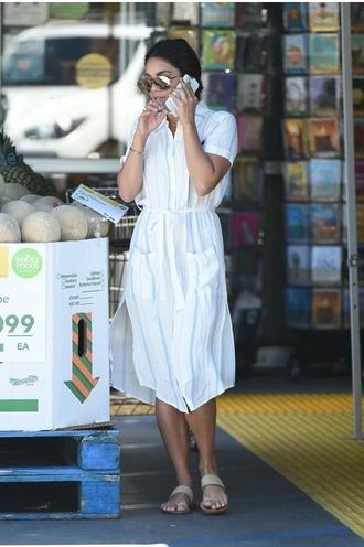dress vanessa hudgens white dress sunglasses phone sandals shoes bag
