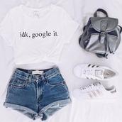 t-shirt,idk google it,shirt,white,backpack,adidas,adidas superstars