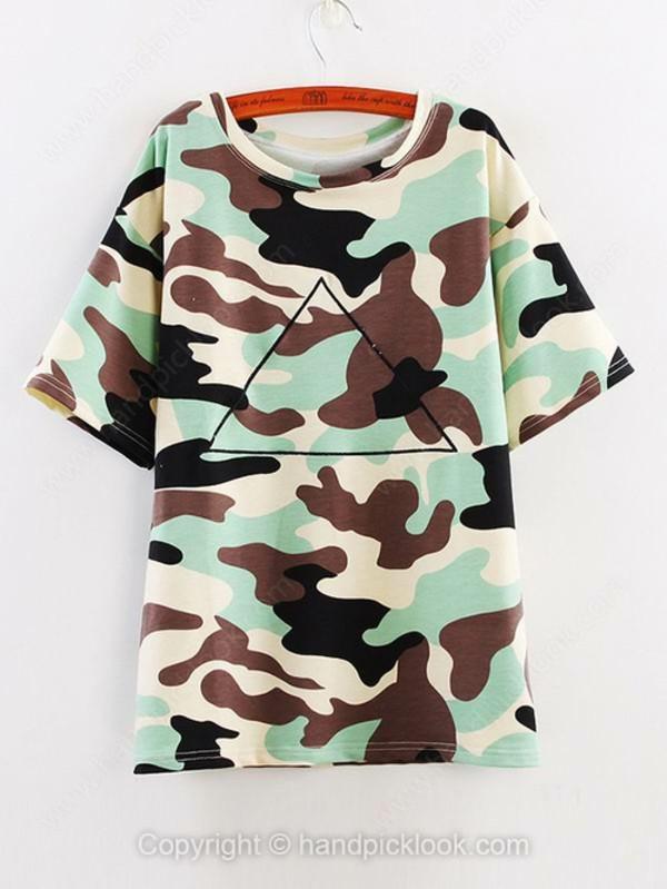 t-shirt camo t-shirt camouflage camo shirt summer top print tees camo tee shirt handpicklook.com triangle