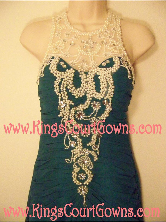 Replica green pearl beaded trumpet chiffon prom evening pageant dress gown