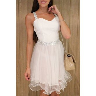 dress white tulle dress prom homecoming dress fancy cute feminine girly rose wholesale-ap