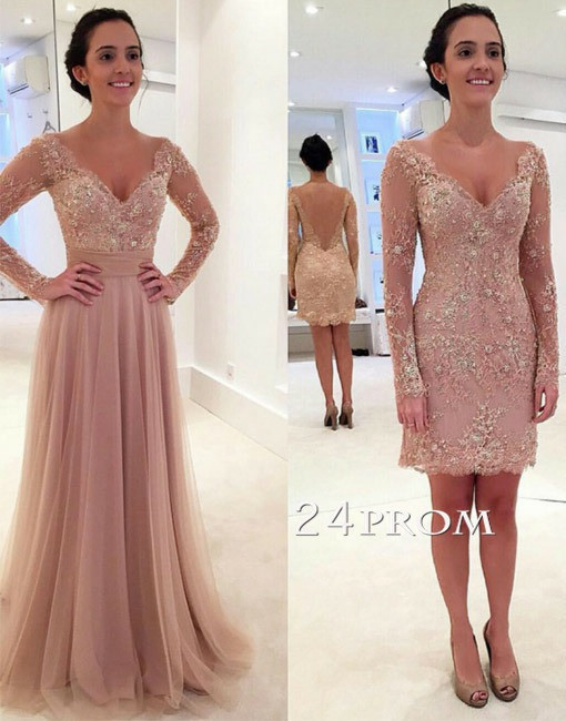 Custom Made 2 Pieces A-line V Neck Tulle Lace Backless Prom Dresses ...