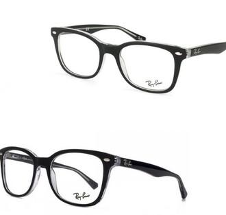 sunglasses glasses frames glasses black transparent rayban