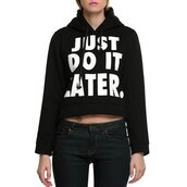 sweater,fashion,style,cool,long sleeves,Stylish Hooded Long Sleeve Letter Pattern Women's Short Hoodie,cropped,sporty,just do it,t-shirt