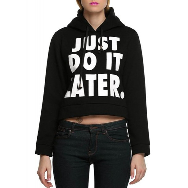 sweater fashion style cool long sleeves Stylish Hooded Long Sleeve Letter Pattern Women's Short Hoodie cropped sporty just do it t-shirt
