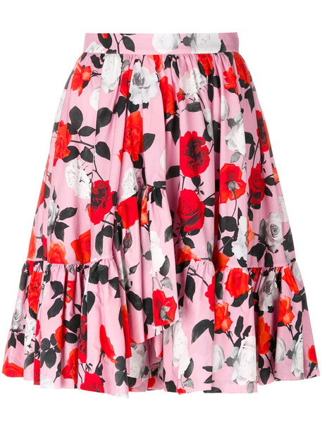 skirt flare skirt flare women floral cotton purple pink