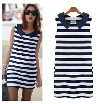 New Summer Dress 2014 Women Casual Mini Dress Pocket Color Block Sleeveless Peter Pan Collar Stripe Straight Dresses in Stock | Amazing Shoes UK