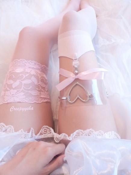heart lingerie garter socks grunge