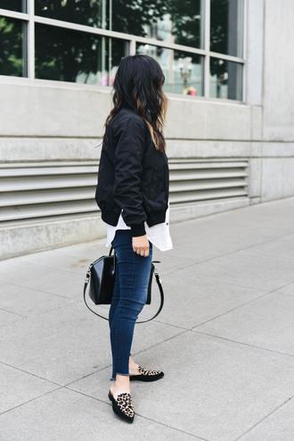 shoes black jacket tumblr mules leopard print jacket bomber jacket denim jeans blue jeans shirt white shirt bag black bag