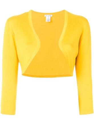cardigan cropped women silk wool yellow orange sweater