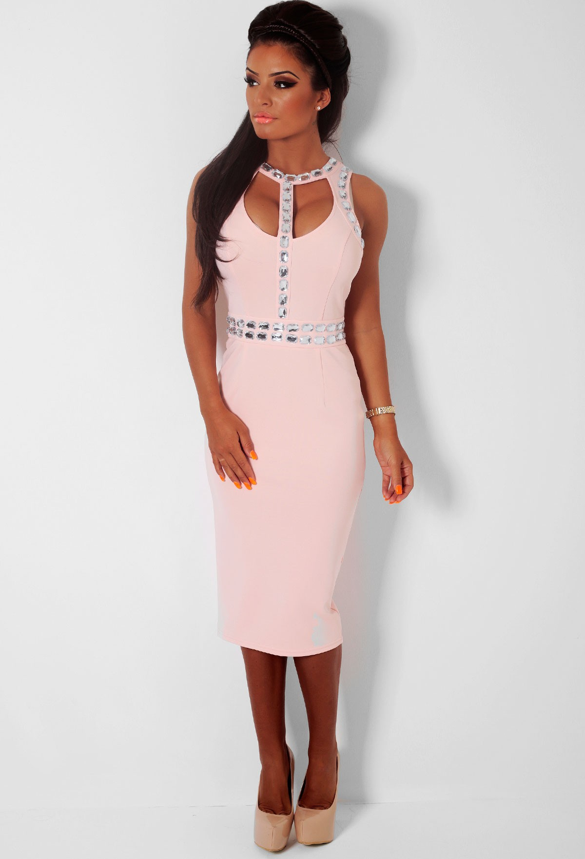 Hidden heart nude embellished cut out midi dress