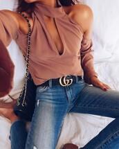 top,tumblr,pink top,cut-out,cut-out shoulder top,cut out shoulder,denim,jeans,blue jeans,logo belt,belt,gucci,gucci belts,bag,black bag,chain bag