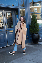 man repeller,blogger,coat,jeans,shoes,dress,sweater,beige coat,spring outfits,slip on shoes
