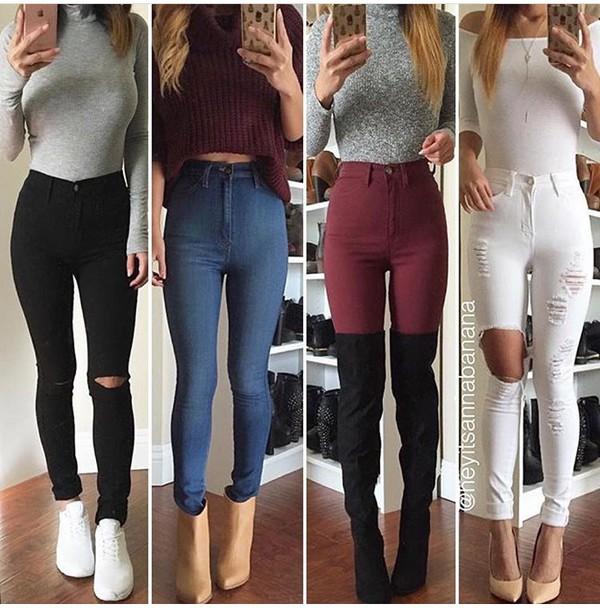 burgundy highwaist skinny pants
