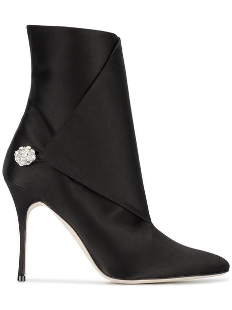 women 100 leather black satin shoes