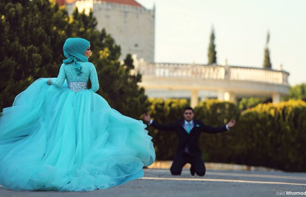 Islamic Wedding Dresses Tumblr : Dress hijab muslim wedding aqua wheretoget