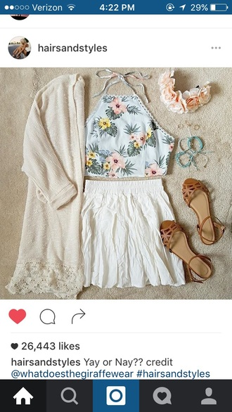 skirt flower crown shirt halter top halter crop top cardigan oversized cardigan shoes sandals floral floral tank top bralette bracelets white ivory floral cut out sweater
