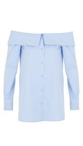 top,off the shoulder,shirt,blue