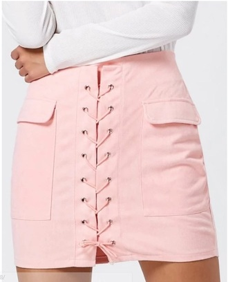 skirt girly pink lace lace up bodycon mini mini skirt