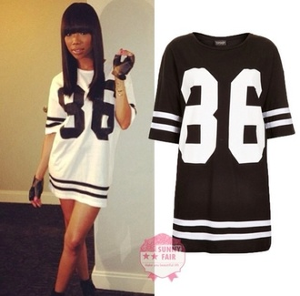 dress black and white oversized jersey brandy chinese bangs black leather gloves shirt