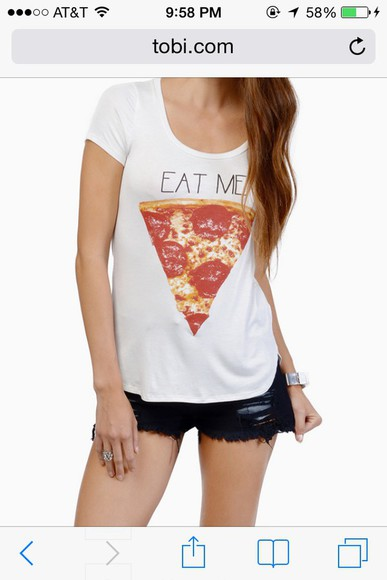 t-shirt pizza pizza shirt hipster eat me t shirt print white t-shirt quote on it casual