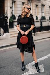 fashionjackson,blogger,dress,belt,shoes,bag,sunglasses,gucci belt,black dress,lace dress,red bag,ankle boots,fall outfits,asymmetrical dress,midi dress,black boots,handbag,round bag