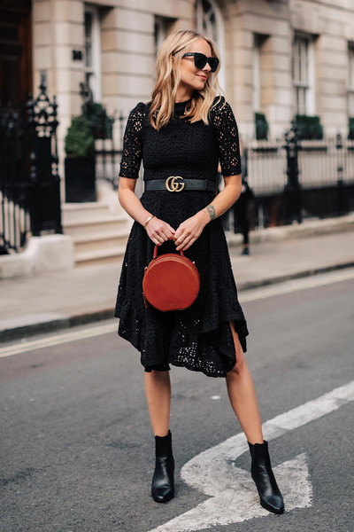 fashionjackson blogger dress belt shoes bag sunglasses gucci belt black dress lace dress red bag ankle boots fall outfits asymmetrical dress midi dress black boots handbag round bag