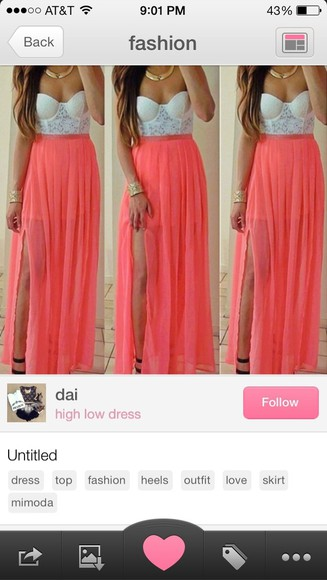 pink dress salmon peach white long split