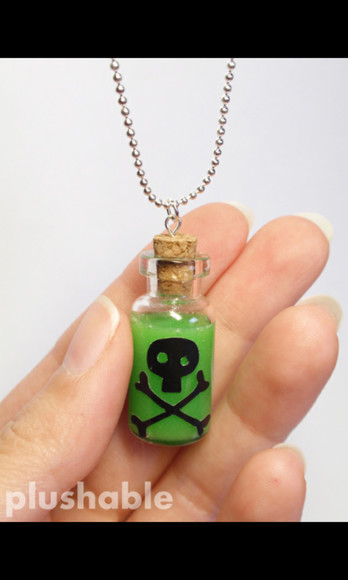 necklace jewels bottle bottle necklace poison cross bones