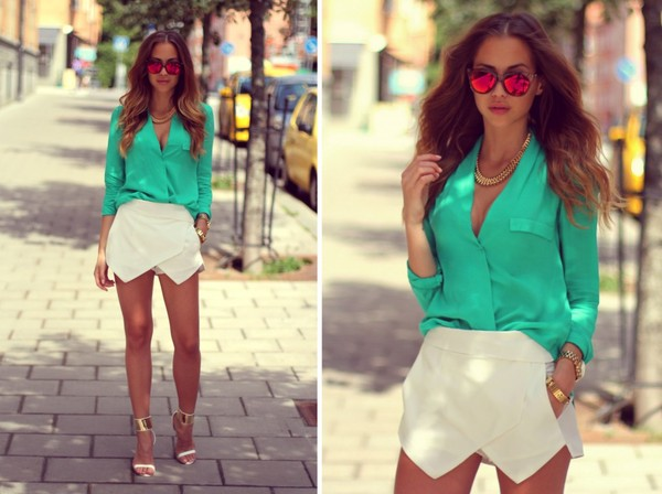 kenza shorts shirt shoes jewels sunglasses skorts white irregular skirt zara cute blogger fashion