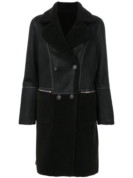 coat double breasted women black