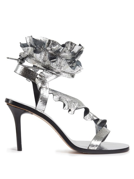 Isabel Marant ruffle sandals leather sandals leather silver shoes