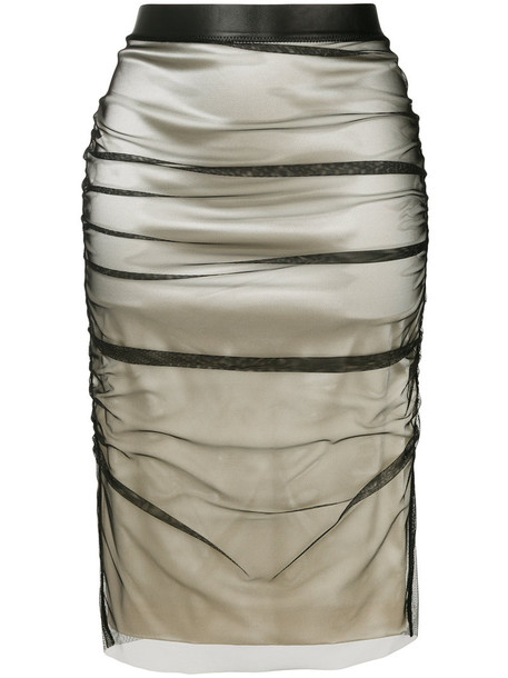Tom Ford skirt pencil skirt women spandex layered leather nude silk
