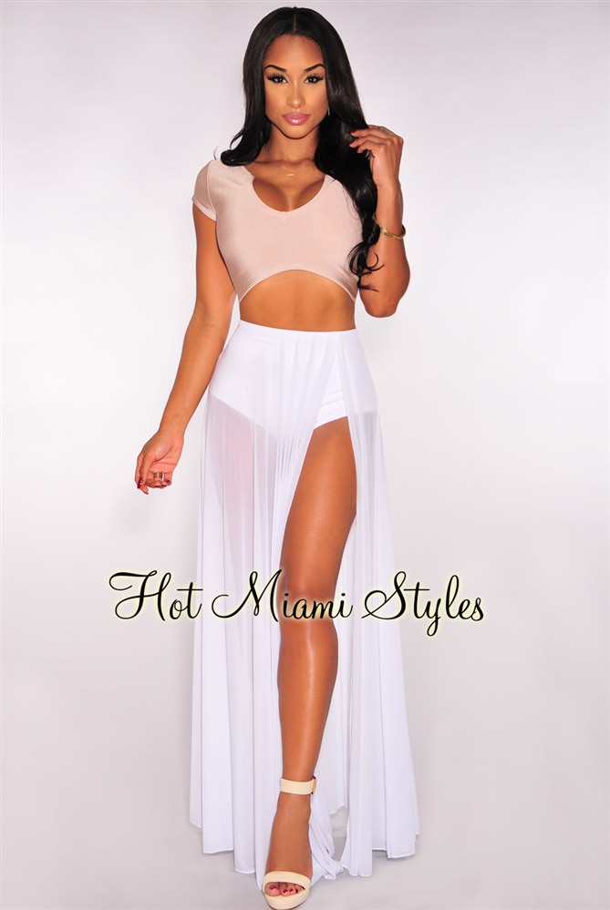White Sheer Panty Maxi Skirt