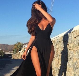 dress black body bodysuit slit dress