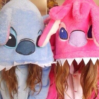 pajamas pink and blue stitch onsies super cute and so adorable