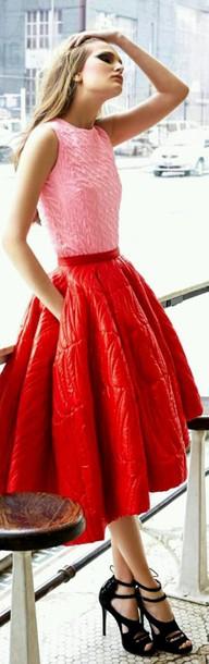 blouse pink shirt skirt red skirt