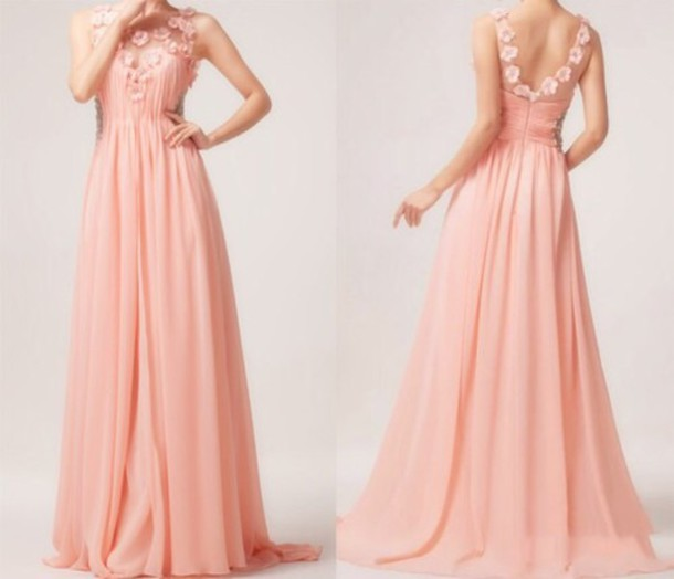 dress pink long dress beautfiul