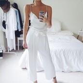 jumpsuit,tumblr,white jumpsuit,cropped jumpsuit