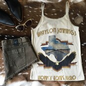 tank top,midnight rider,country style,country music,country western top,country music awards,black booties,leather boots,one teaspoon,dont mess with texas,southern girl,southern charm,southern chic,southern edge,waylon jennings,waylon,southern outfit,70s style,cut offs,short skirt