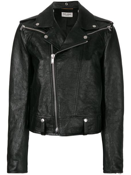 Saint Laurent jacket biker jacket women fit leather cotton black