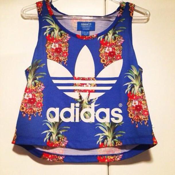 b55f4c56d02 t-shirt, blue tshirt, adidas shirt, pineapple print - Wheretoget
