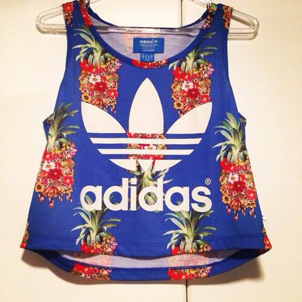 t-shirt blue tshirt adidas shirt pineapple print
