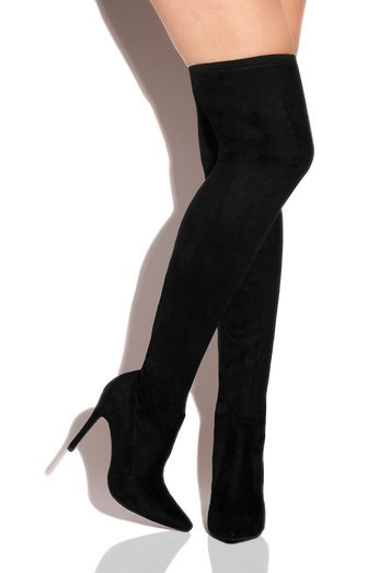 Suede-Sion Black Faux Suede Stretch Thigh High Heel Boot