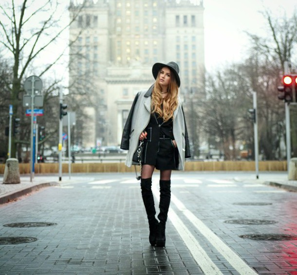 madame julietta blogger hat winter jacket thigh high boots